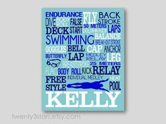 Swimming Typography Art Print, Perfect for Girl or Boy's Room Art, You Choose the Colors, Makes a Great Gift for any Swimmer