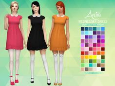Sims 4 CC's - The Best: Wednesday Dresses in 66 Colors by AveiraSims