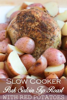Enjoy an easy dinner with the help of the slow cooker. This Slow Cooker Pork Sirloin Tip Roast w/Red Potatoes is tasty without the hours at the stove. Pork Sirloin Tip Roast, Sirloin Tips, Pot Roast, Roast Recipes, Crockpot Recipes, Cooking Recipes, Slow Cooker Roast, Crock Pot Cooking, Thermomix