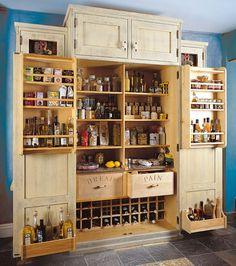 Kitchen Pantry Cabinet Standalone Larder Cupboard 49 Ideas - pinupi love to share Kitchen Larder, Larder Cupboard, Kitchen Pantry Design, Kitchen Pantry Cabinets, Diy Kitchen Storage, Home Decor Kitchen, Home Kitchens, Cupboard Ideas, Kitchen Upgrades