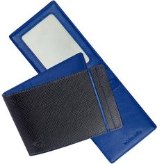 RFID Money Clip Wallet: Imported Black Leather Outside/Blue Inside $59.50