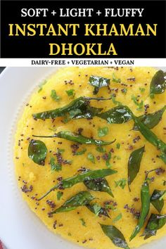 Business Cookware Ought To Be Sturdy And Sensible Instant Khaman Dhokla Is A Steamed Cake Prepared With Chickpea Flour And Spices. A Mouth-Watering, Nutritious And Irresistible Gujarati Snack That's Actually Healthy And Vegan Delicious Vegan Recipes, Vegetarian Recipes, Snack Recipes, Cooking Recipes, Breakfast Recipes, Indian Snacks, Indian Food Recipes, Andhra Recipes, Indian Appetizers