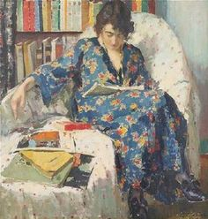 Médard Verburgh, early 20th century painting of lady reading