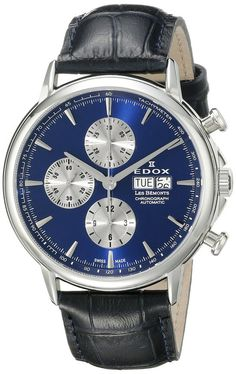 Edox 01120 3 BUIN Men's Watch LES BÉMONTS Chronograph Automatic Blue Dial