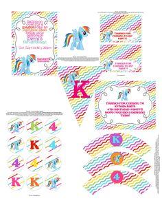 My Little Pony Rainbow dash printable birthday invitation package. $40.00, via Etsy.
