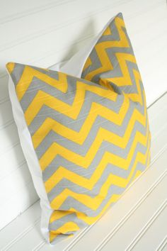 Dark Yellow and Gray Chevron Pillow Cover 18x18 by TheLaceyPlacey, $14.50 - would so great as a throw pillow for our bed!!