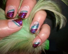 My Nail Art: Purple, Teal and Silver. Purple and Teal large glitters and a small teal gem on the ring finger.