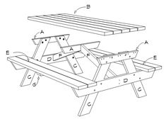 6 Foot Picnic Table Plans | DIY Projects - Construct101 Folding Picnic Table Plans, Diy Picnic Table, Outdoor Projects, Wood Projects, Patio Under Decks, Pocket Hole, Wishing Well, How To Plan, Carpentry