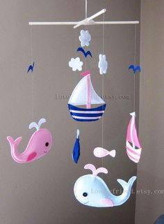 Baby Mobile Whale and Sailboats Crib Mobile by lovelyfriend
