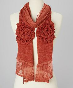 Look what I found on #zulily! Rust Rosette Lace Linen-Cashmere Blend Scarf #zulilyfinds