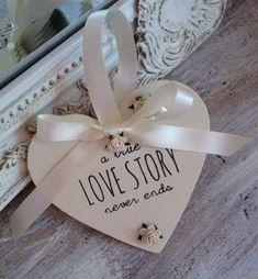 'Love Story' Wooden Heart