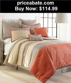 Bedding: NEW King Queen Size Bed Bag Gray Grey Orange Stripe 8 pc Comforter Set Elegant - BUY IT NOW ONLY $114.99