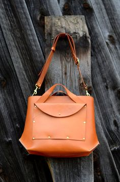 Handmade Medium Leather Tote Bag by FarrellandCompany on Etsy, $338.00