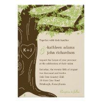 Green Oak Tree Rustic Wedding Invitation