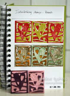 here's what they look like stamped. (StampingMathilda: Stamp Carving - Interlocking Hearts)