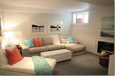 light and bright basement family room