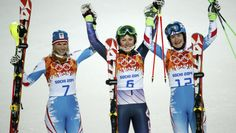 Marlies Schild of Austria, Mikaela Shiffrin of the U.S., and Kathrin Zettel of Austria celebrate after competing in the women's slalom at the Sochi Winter Olympics. - See more at: http://www.nbcolympics.com/photos/sochi-olympics-womens-slalom-run-2?ctx=golden-moments#sthash.XhQHDSHe.dpuf