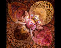 This photo showcases the intricate geometric patterns that splay across the mosque's ceilings, as well as the arches that elevate the upper domes. | www.eklectica.in #eklectica