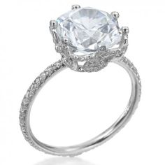 """""""Ellen"""" platinum setting for round diamond, by Erica Courtney, from Michael C. Fina."""