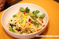 Nutritious Salad Bowl with Black Beans, Roasted Corn, Cilantro and more topped with Chicken! DiggsTaco Shop Dallas, TX Park Cities  Salad Bowl with Chicken Crisp Romaine, Carrots, Bacon, Black Beans, Roasted Corn, Cheese, Roma Tomatoes, Onions, Red Cabbage, Cilantro with Taco Shop Ranch or Balsamic Vinaigrette