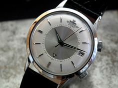 MUSEUM CONDITION 1963 STEEL JAEGER LE COULTRE MEMOVOX DATE GENTS VINTAGE WATCH