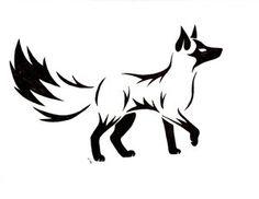 Tribal fox tattoo. rose & maroon.