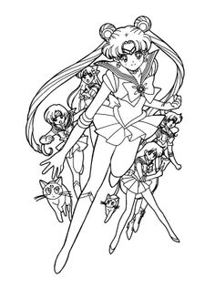Sailor Moon Coloring Pagewho Knows Could Make A Pretty Decent Outline For Tattoo Lol