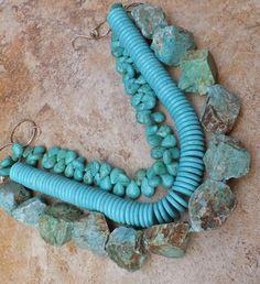 TURQUOISE GEMS NATURAL ROUGH AMAZONITE AQUA BLUE HUGE NECKLACE chunk BIG JEWELRY