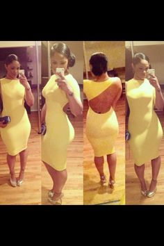 My Girl Crush Maliah Michel workin that yellow bodycon dress