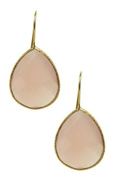 18K Gold Clad Faceted Rose Quartz Drop Earrings by Jewelry Blowout on @HauteLook