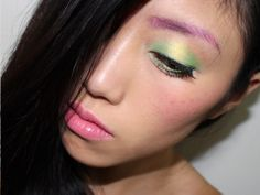 Pastel Makeup Look With Pink Brows + Green and Yellow Eyes with Jealousness JS-502 and JS-709