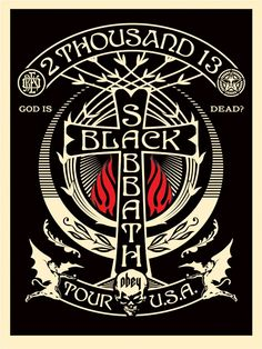 Shepard Fairey ~ Black Sabbath Classic heavy metal rock psychedelic music poster ☮~ღ~*~*✿⊱ レ o √ 乇 ! ~: Shepard Fairey ~ Black Sabbath Classic heavy metal rock psychedelic music poster ☮~ღ~*~*✿⊱ レ o √ 乇 ! Black Sabbath Tour, Black Sabbath Concert, Arte Heavy Metal, Heavy Metal Music, Poster Retro, Poster S, Omg Posters, Band Posters, Music Posters