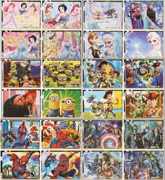 4pcs/set Anna Elsa Paper jigsaw puzzles for children kids brinquedos Sofia Minions Avengers toys educational