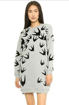 Cheap Fashion O Neck Long Sleeves Swallows Print
