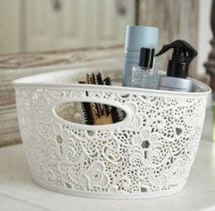 Curver 7 Litre Lace Effect Basket, Vintage White: Amazon.co.uk: Kitchen & Home