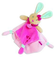 """#Doudou #lapin de la collection """" #Perle """" # de Baby Nat' en forme de lapin , il est très #doux et il accompagnera votre enfant partout... #babynat #babyNat' #babyNat #rose #blanc"""
