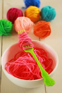 Mariani - yarn is food. Occupational Therapy Activities, Motor Skills Activities, Sensory Activities, Preschool Activities, Heuristic Play, Role Play Areas, Practical Life, Dramatic Play, Happy Colors
