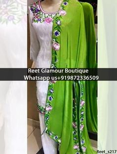 Charming White And Green Embroidered Punjabi Suit Product Code : Reet_S217 All colours any stuff can be customise To order, call/whatsapp on +919872336509 It will make you noticable in special gathering. Buy Link : https://www.facebook.com/reetglamourboutique/