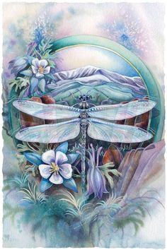 The Journey To Paradise print by Jody Bergsma is a beautiful piece of artwork to display. Features a beautiful dragonfly with blue and purple on a journey over the mountain, through the valley, and across the river. Dragonfly Painting, Dragonfly Art, Dragonfly Tattoo, 5d Diamond Painting, Cross Paintings, Original Paintings, Diamond Art, Diamond Cross, Pics Art