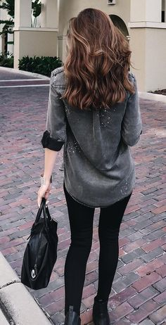 #pretty #winter #outfits /  Grey Denim Shirt // Black Skinny Jeans // Leather Tote Bag