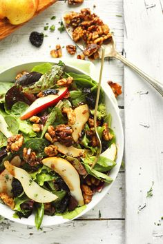 EASY Salad with Pears, Dried Cherries, and Candied Walnuts! #Vegan #glutenfree #salad #recipe #healthy #easy #minimalistbaker
