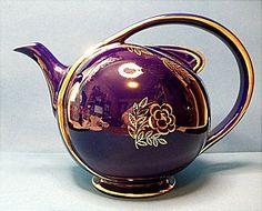 Hall Airflow Teapot Cobalt Blue With Standard Gold Trim~6 Cup
