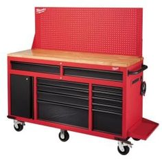 Husky Heavy-Duty 62 in. W 14-Drawer, Deep Tool Chest Mobile Workbench in Matte Black with Adjustable-Height Hardwood Top-HOLC6214BB1MYS - The Home Depot Tool Storage Cabinets, Garage Storage, Storage Spaces, Storage Ideas, Garage Organization, Organization Ideas, Workshop Organization, Shop Storage, Workshop Ideas