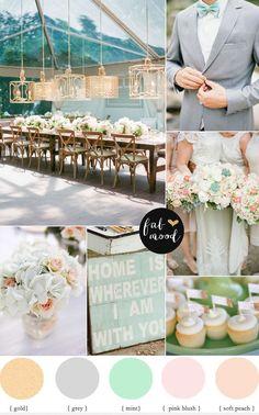 Blush Gold Gray Mint and Peach Wedding Color Palette - Trend Kitchen Decoration Peach Mint Wedding, Peach Wedding Colors, Peach Colors, Wedding Color Schemes, Peach Color Palettes, Rustic Color Palettes, Rustic Colors, Peach Palette, Gold Palette