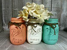 Set of 3 Peach, Cream Mint MASON JARS, Painted Mason Jars, Mason Jar Vases, Shabby Chic, Weddings, Showers, Decor, Vintage Jar, Antique Jar by BowtiqueBurlap on Etsy