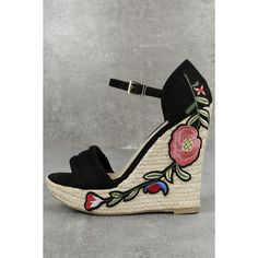 Nell Black Suede Embroidered Platform Espadrille Wedges ($47) ❤ liked on Polyvore featuring shoes, sandals, black, wedge sandals, espadrille wedge sandals, black wedge sandals, wide width sandals and espadrille sandals