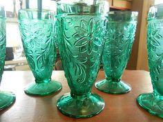 Antique set 7 blue / green  Teal  tumbler / drinking Depression ? glasses