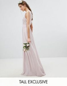56913a5599 TFNC Tall Wrap Front Maxi Bridesmaid Dress With Embellishment