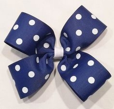 Blue Hair Bow with Dots by LittleAsAccessories on Etsy