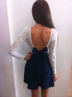 White/Navy Lace Long Sleeve Dress - Back (LOVE)!!!!